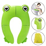Foldable Travel Potty Toilet Seat, Denavo Toilet Training Seats Portable Potty Travel Toddler Toilet Seat Pads with 4 Anti Slip Silicon Pads & 1Bag Prevent Germs Spread,Toilet Training Seats(Green)