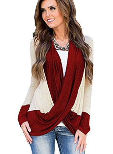 miholl-womens-lightweight-criss-cross-cardigans-top-blouse-large-wine-red