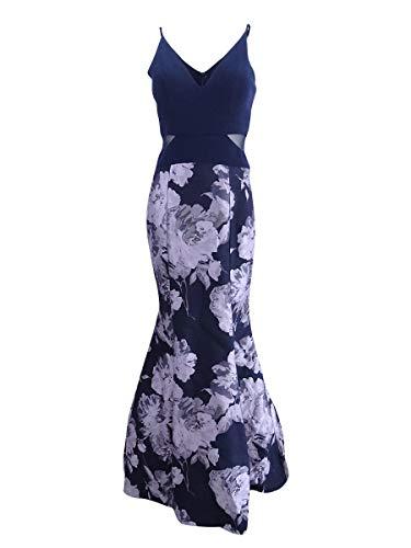 Xscape Women's Brocade Mermaid Dress, Navy Lilac, 4]()
