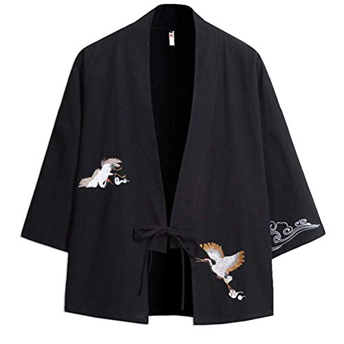 Estilo Verano Casual De Chaqueta De Sari Jóvenes con Abierto para 3 4 Kimono Abierta Hombre Lanceyy Negro Cordón para Haori Manga Capa Chaqueta Bordado De Simple qFwPzOI