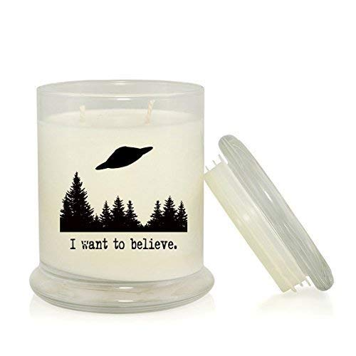 X-Files I Want to Believe 8 5 oz  Soy Candle - Fox Mulder Dana Scully -  X-Files TV Show Merchandise - Very Vanilla Scent