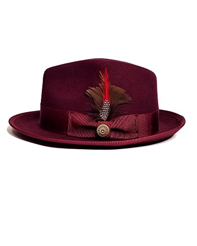 Southern Gents Trilby Fedora (Extra Small, Burgundy) (Feather Fancy Red Wool Hat)