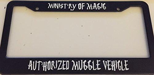 Harry Potter Style Automotive Black License Plate Frame Strawbaru Ministry of Magic Authorized Muggle Vehicle