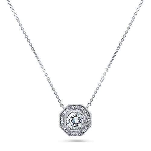 Majestic Nickel Pendant - BERRICLE Rhodium Plated Silver Halo Art Deco Pendant Necklace Made with Swarovski Zirconia 16