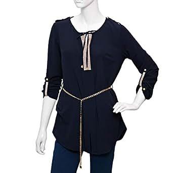 Damacseno Blue Mixed Round Neck Blouse For Women