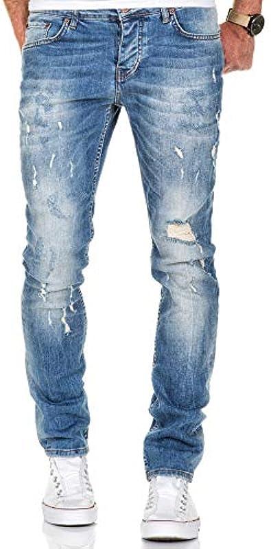 Amaci&Sons Męskie spodnie Strech Destroyed Slim Fit Denim dżinsy spodnie 7500: Odzież