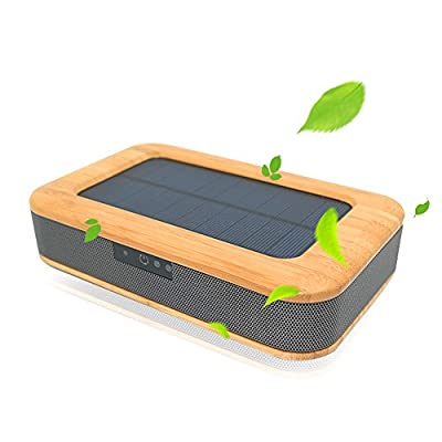 Car Air Purifier, Tsumbay Solar Power Bamboo Car Fresh Air Ionizer Purifier, Sterilize Dusting Deodorization Negative Ion Aromatherapy Humidifier