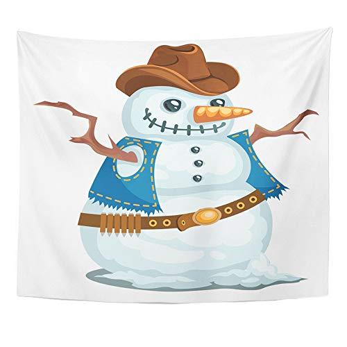 Emvency Tapestry Wall Hanging Cowboy Snowman in The Western Style Hat Christmas Man Snow Bandoleer Branches 50