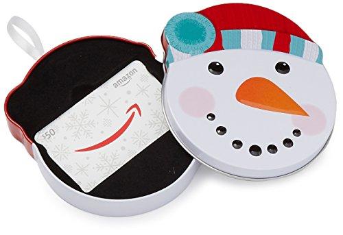 Amazon.ca $50 Gift Card in a Snowman Tin