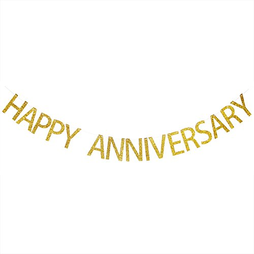 Happy Anniversary Gold Glitter Banner - Wedding Anniversary Party Bunting