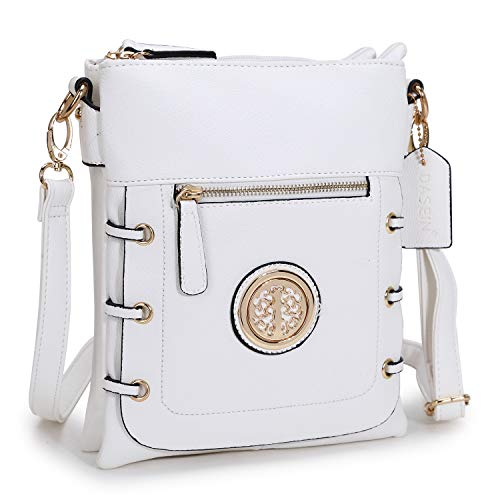 Women Small Crossbody Purse Ladies Lightweight Multi Pockets Zippers Shoulder Bag (01- White)