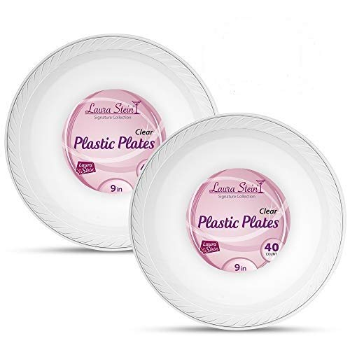 Laura Stein Elegant 9 Inch Disposable Clear Dinner Size Plastic Plates 2 Pack (80 Plates)