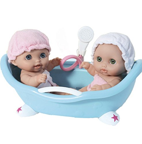 "Lil' Cutsies Twin Dolls in Bath - 8.5"" all vinyl water friendly dolls, designed by Berenguer (Vinyl Plastic Dolls)"