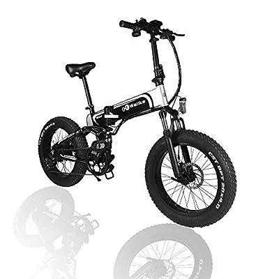 WALLKE Folding Aluminum Electric Bike 48V 14ah Removable Battery 30 Mile Range Fat Tire Snow Mountain Bike 750W Beach Cruiser 20 inch Adult Assisted E-Bike Double Disc Hydraulic Brake