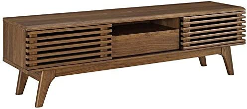 Levan Home Mid Century Modern 59 Retro TV Stand in Walnut, Slatted Shelves, TV Console Storage Cabinet