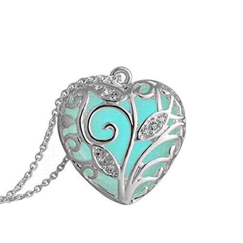 Elogoog Clearance! Women Girls Fashion Jewelry Magical Aqua Blue Tree Heart Glow In The Dark Heart Pendant Necklace 3 Colors (Costumes Jewelry Pearl Necklace)