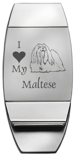 Maltese Money Clip (Two-Toned Money Clip - I Love My Maltese - Silver)
