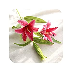 Real Touch Perfume Lily Artificial Flower 3 Heads PVC Lily Fake Flower Branch for Wedding Home Garden Decoration,Rose Red 68