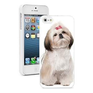 Apple iphone 5s Hard Back Case Cover Color Shih Tzu Sitting (White)