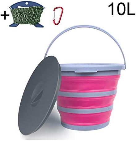 ZDST Eimer aus Kunststoff, faltbar, mit Deckel, 10 l, faltbar, mit Haken mit Clip und Seil zum Angeln in der Küche Camping Garten