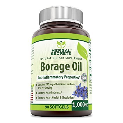 Herbal Secrets Borage Oil 1000 Mg 90 Softgels