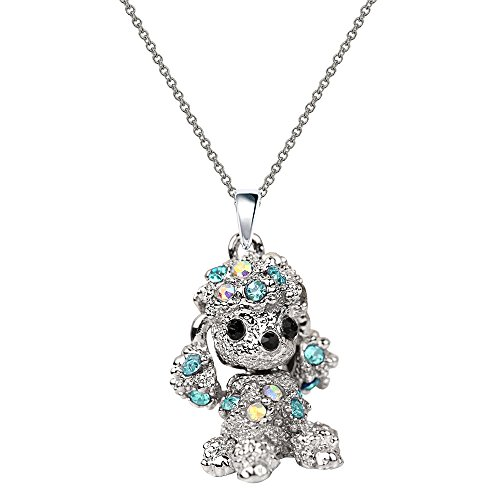 NC067 Cute 3D Blue Crystal Poodle Puppy Pet Charm Pendant - Poodle Crystal