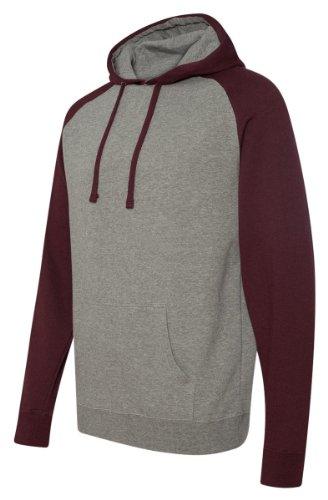 Gunmetal Mens Sweater (Independent Trading Co Raglan Hooded Sweatshirt. IND40RP XX-Large Gunmetal Heather / Burgundy Heather)