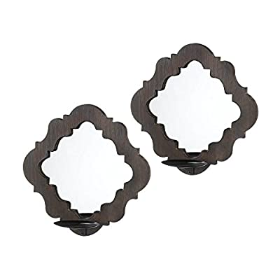 Zingz and Thingz Wood Framed Mirror Wall Sconce (Set of 2)