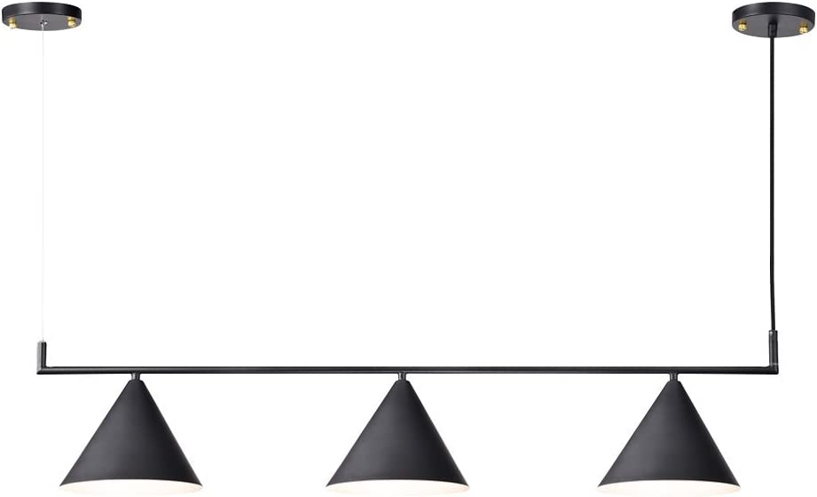Hyperikon Island Light Fixture, 43 Inch 3 Cones Linear, Pendant Lighting, Black, E26, Hardwired Lamp