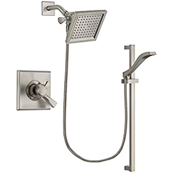 Delta Dryden Stainless Steel Finish Dual Control Shower Faucet System  Package With 6.5 Inch Square