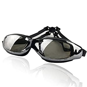 Pro Swim Goggles | Black | Super Comfortable Shatterproof Watertight Triathlon Sporty Goggles with Mirrored Anti-Fog UV Protection Lenses and Adjustable Strap | Excellent for Men or Women | 1297.4