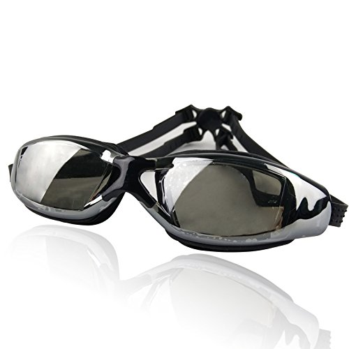 Pro Swim Goggles | Black | Super Comfortable Shatterproof Watertight Triathlon Sporty Goggles with Mirrored Anti-Fog UV Protection Lenses and Adjustable Strap | Excellent for Men or Women | - Eyeglasses Prescribed
