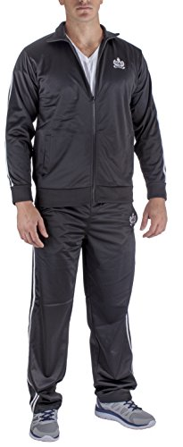 Vertical Sport Men's 2 Piece Jacket Pants Track Suit JS10 (Large, Black) by Vertical Sport