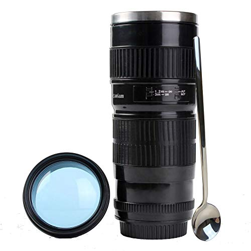 Camera Lens Coffee Mug With Cute Spoon, Photo Coffee Mugs Stainless Steel Travel Lens Cup Thermos Photographer Gift 16OZ TMANGO (Canon 70-200mm A)