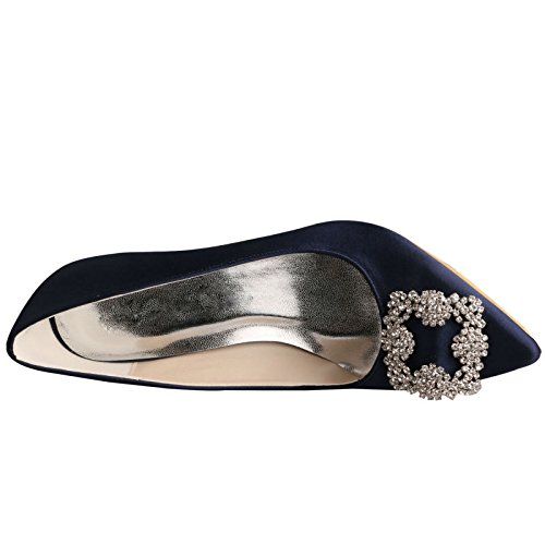 Party Rhinestone Navy Heel Wedding Stiletto Shoes Women's Wedopus Dress Satin Pumps Bridesmaid MW353 Pointy Toe w8ZEzqZ