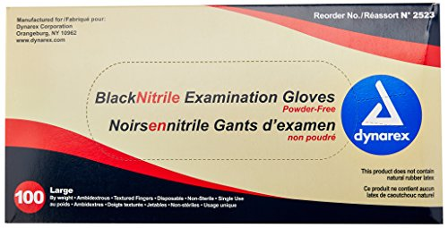Dynarex 2523 Nitrile Exam Gloves, Large, Black (Pack of 100)
