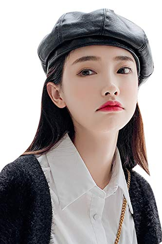 Zojuyozio Women PU Beret Hat Casual Winter Fall French Solid Color Artist Hats
