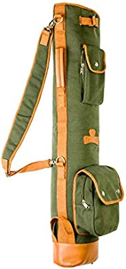 Thorza Sunday Golf Bag for Men and Women, Vintage Canvas and Leather, Stores Balls, Tees, and Clubs for 18 Hol
