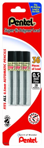 Pentel Super Hi-Polymer Lead Refill 0.5mm Fine, 2B, 36 Pieces of Lead (C505BP32B-K6) (Pencil Automatic Lead)
