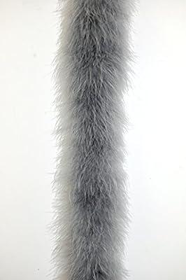 """Marabou Feather Boa 2 Yards Long (72"""") 22 Grams - SILVER GREY"""
