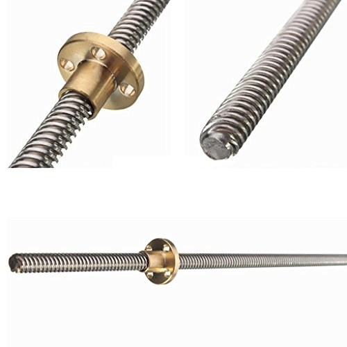 FidgetFidget Lead Screw Threaded Rod 8mm + Nut for T8 Trapezoidal Acme Stepper 450mm