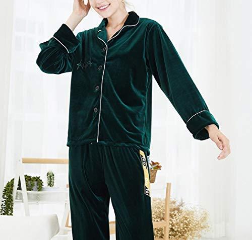 inverno caldo confortevole e a servizio CWJ di Verde a domicilio autunno per pigiama e scuro per maniche autunno inverno mantenere e d'oro le signore Pigiama lunghe velluto xqESSftw