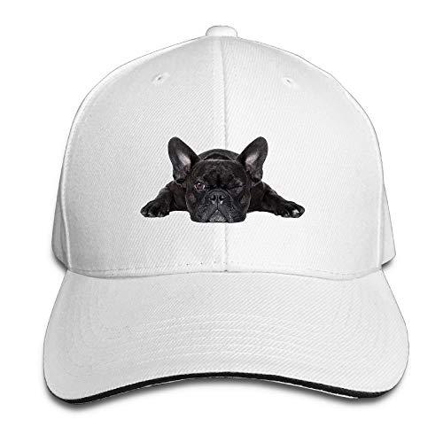 French Bulldog Cap - yu bo Sandwich Baseball Cap Unisex Adjustable Trucker Hats French Bulldog White