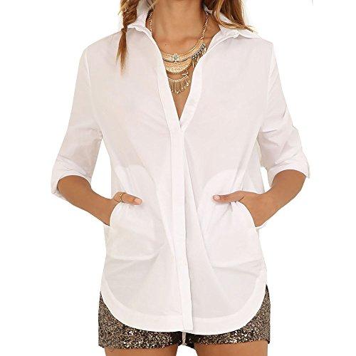 Eliacher Women's Casual long sleeve Blouse shirt 6538 (XL, 1) (Cotton Point Collar Blouse)