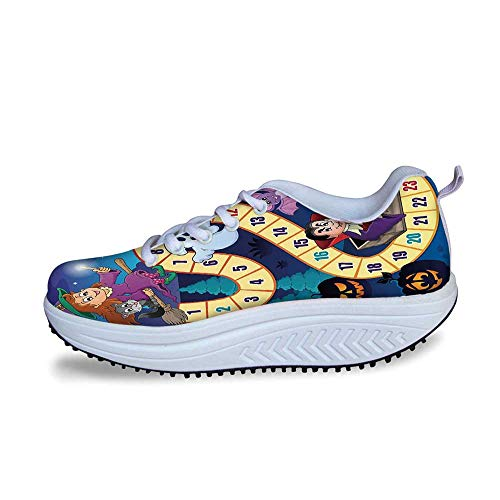 YOLIYANA Board Game Cool Shake Shoes,Halloween Theme Symbols Happy Witch Girl Vampire Ghost Pumpkins Happy Comic for Women,US Size9]()