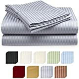 Crystal Trading 4-Piece Bed Sheet Set - Dobby Stripe - 100% Cotton Sateen - 300 Thread Count (Full, Silver)