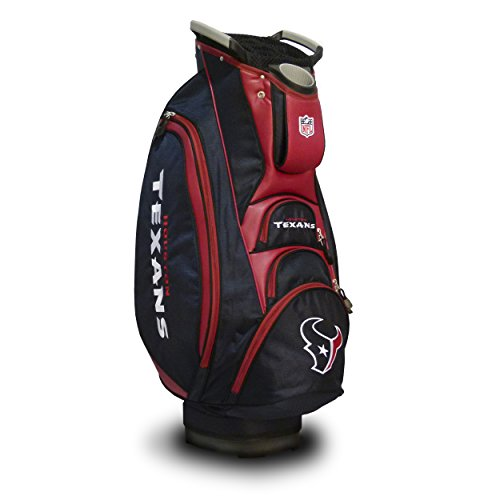 Team Golf NFL Houston Texans Victory Golf Cart Bag, 10-way Top with Integrated Dual Handle & External Putter Well, Cooler Pocket, Padded Strap, Umbrella Holder & Removable Rain Hood