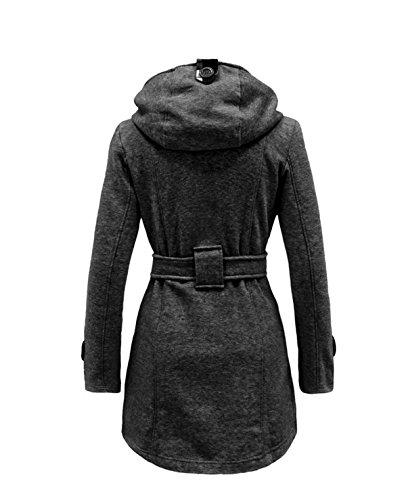 China Palaeowind La Sra Tela Escocesa Con Capucha Abrigo De Lana Cruzado Abrigo Largo Darkgray