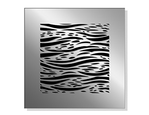 """SABA Fiber Glass Decorative Grille Vent Return Register Easy Air Flow Waves Cover 8 inch x 8 inch (10"""" x 10"""" Overall).For Walls and Ceilings (not for Floor use)."""
