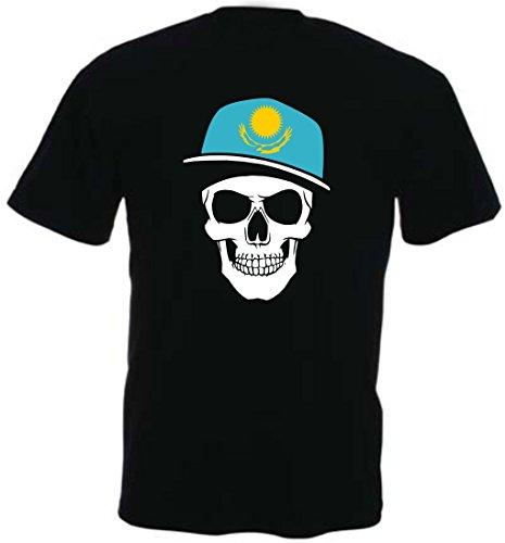 Kasachstan - T-Shirt - Skullz Fahne - Totenkopf schwarz